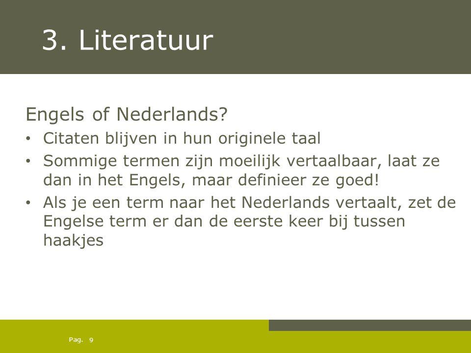 3. Literatuur Engels of Nederlands