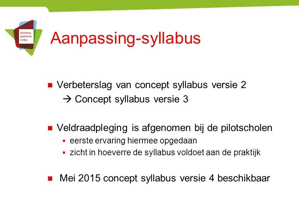 Aanpassing-syllabus Verbeterslag van concept syllabus versie 2