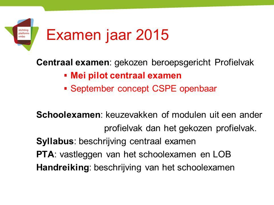 Examen jaar 2015 Centraal examen: gekozen beroepsgericht Profielvak