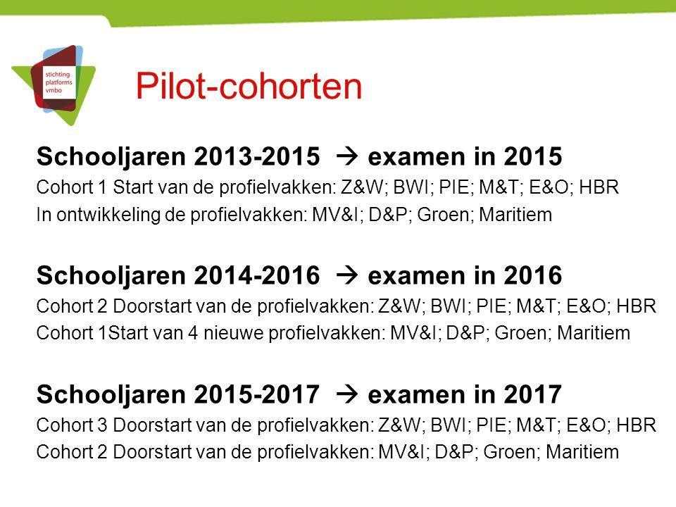 Pilot-cohorten Schooljaren 2013-2015  examen in 2015