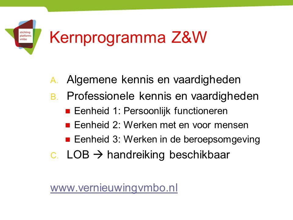 Kernprogramma Z&W Algemene kennis en vaardigheden