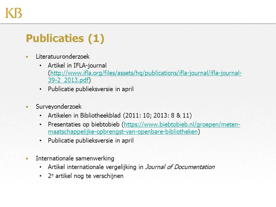 Publicaties (1) Literatuuronderzoek