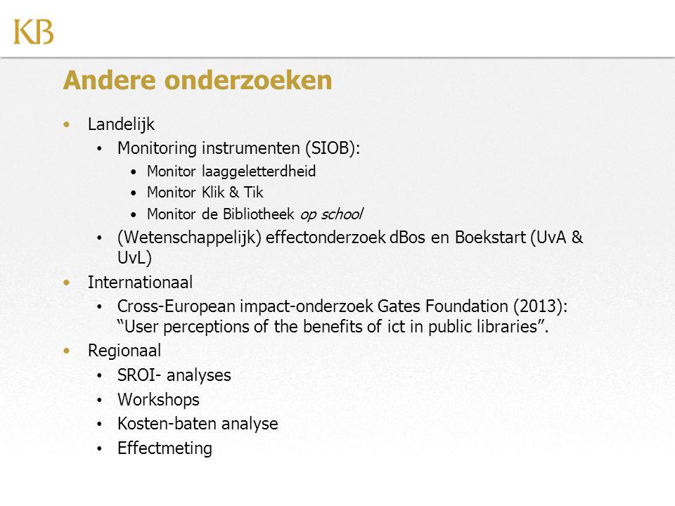 Andere onderzoeken Landelijk Monitoring instrumenten (SIOB):
