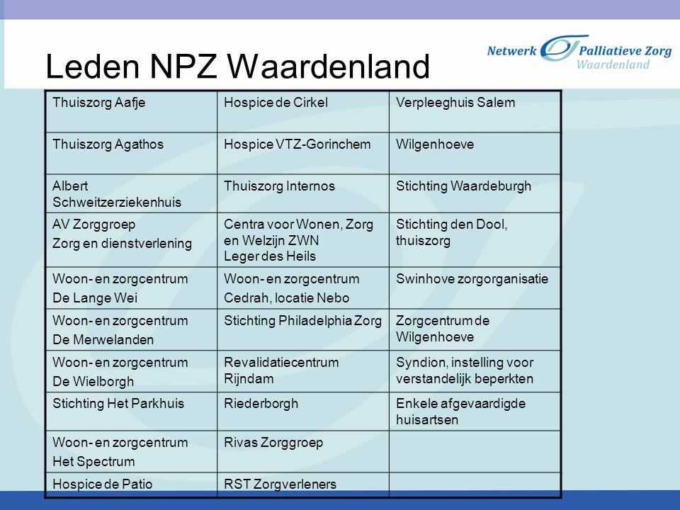 Leden NPZ Waardenland Thuiszorg Aafje Hospice de Cirkel