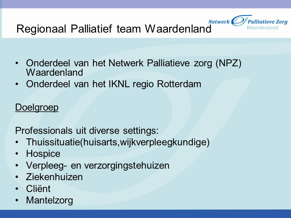 Regionaal Palliatief team Waardenland