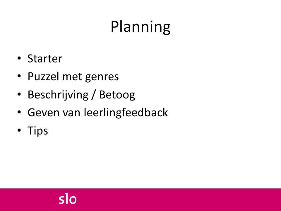 Planning Starter Puzzel met genres Beschrijving / Betoog