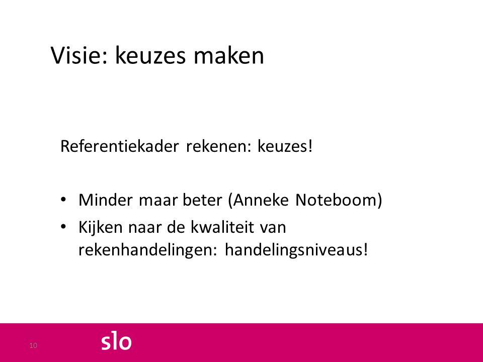 Visie: keuzes maken Referentiekader rekenen: keuzes!