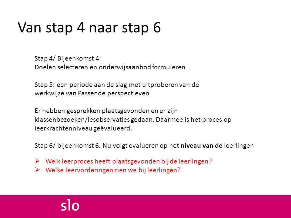 Van stap 4 naar stap 6 Stap 4/ Bijeenkomst 4: