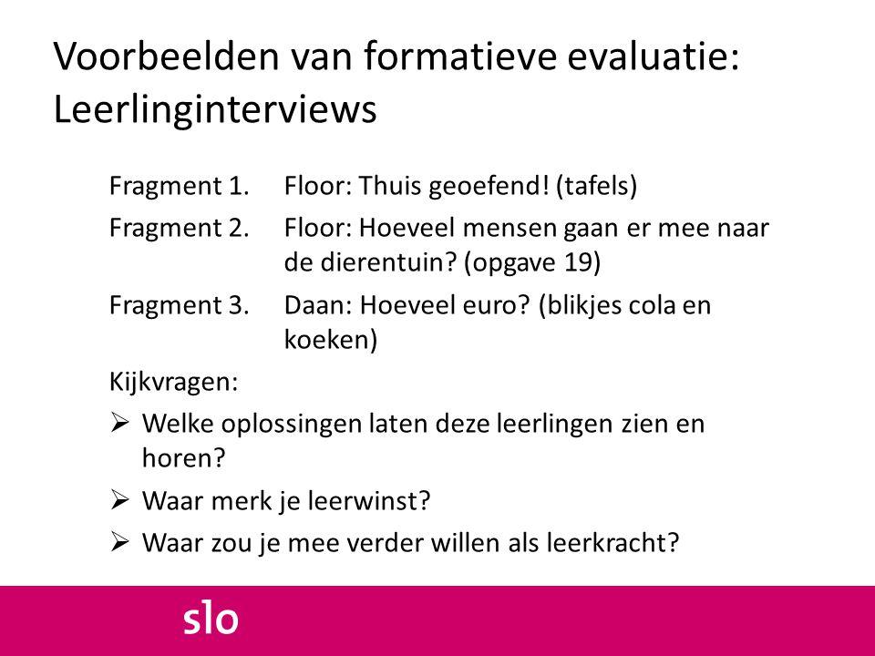 Voorbeelden van formatieve evaluatie: Leerlinginterviews