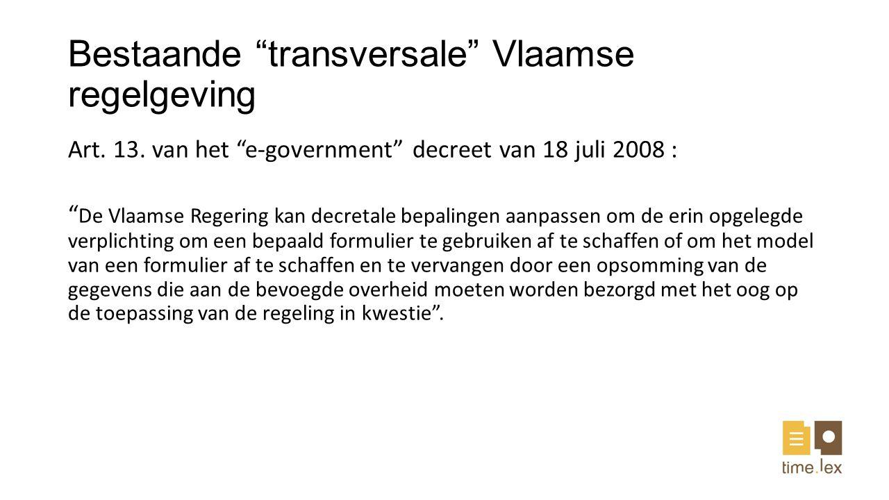 Bestaande transversale Vlaamse regelgeving