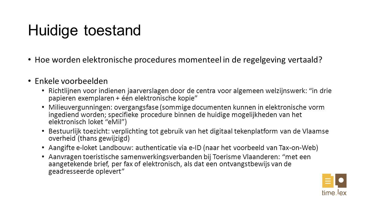 Huidige toestand Hoe worden elektronische procedures momenteel in de regelgeving vertaald Enkele voorbeelden.