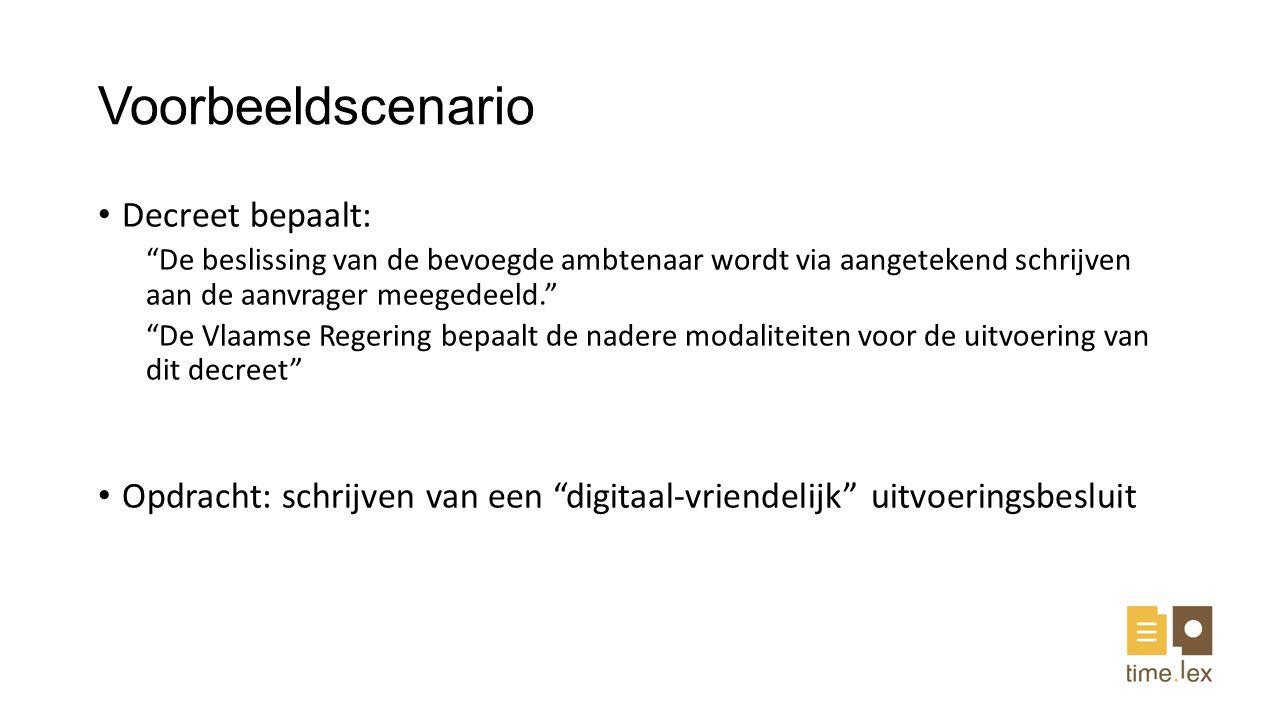 Voorbeeldscenario Decreet bepaalt: