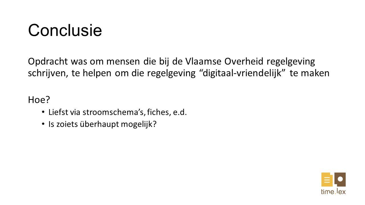 Conclusie Opdracht was om mensen die bij de Vlaamse Overheid regelgeving schrijven, te helpen om die regelgeving digitaal-vriendelijk te maken.