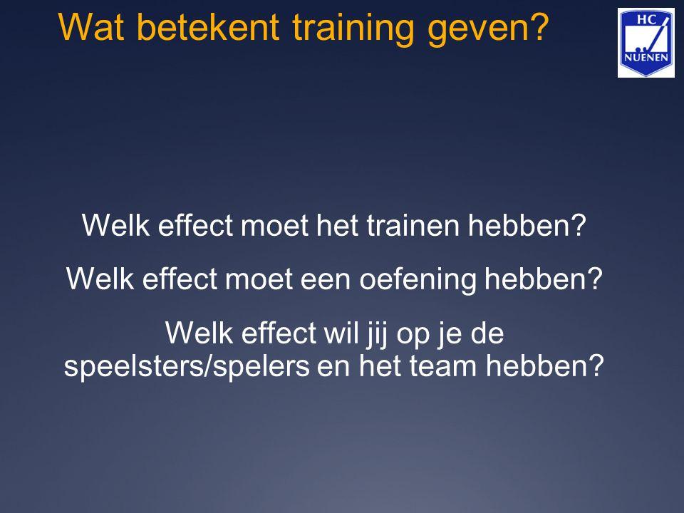 Wat betekent training geven