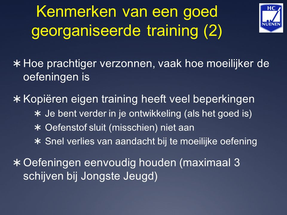 Kenmerken van een goed georganiseerde training (2)