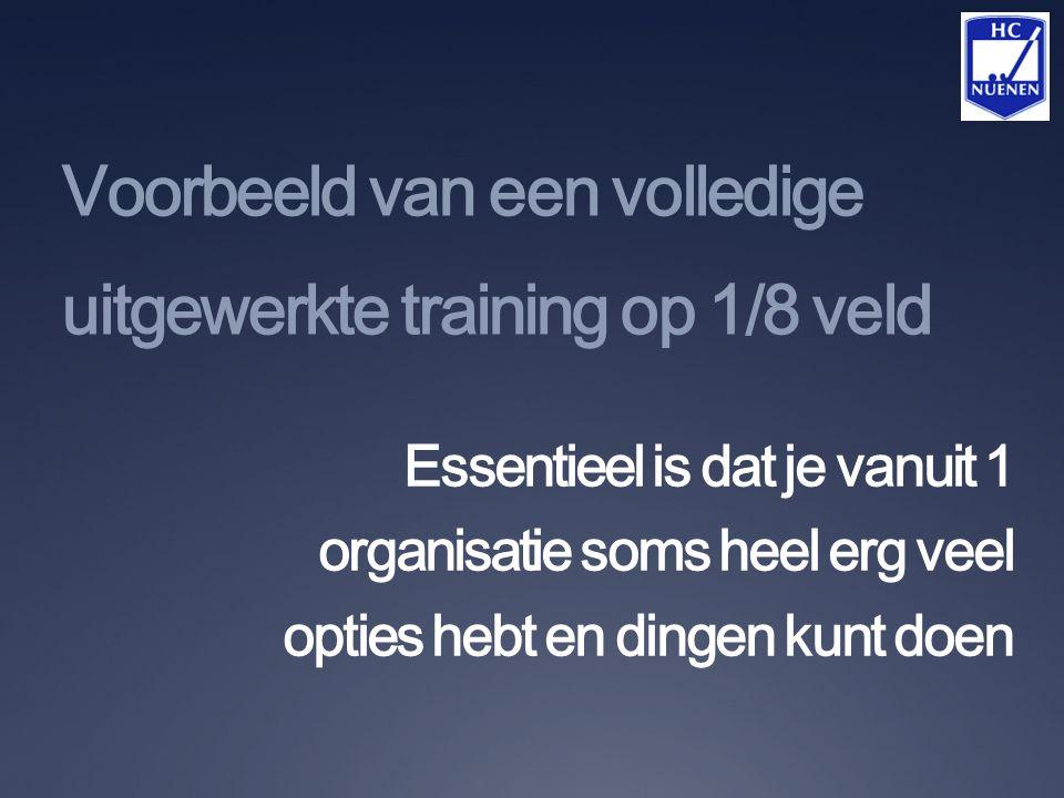 Voorbeeld van een volledige uitgewerkte training op 1/8 veld