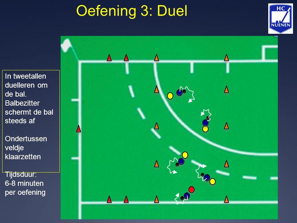 Oefening 3: Duel In tweetallen duelleren om de bal. Balbezitter schermt de bal steeds af. Ondertussen veldje klaarzetten.
