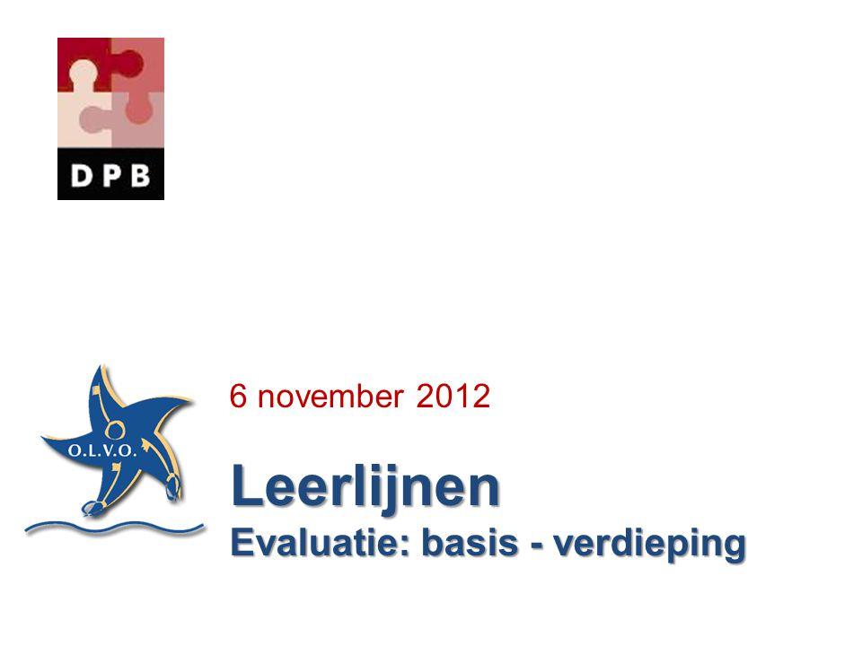 6 november 2012 Leerlijnen Evaluatie: basis - verdieping