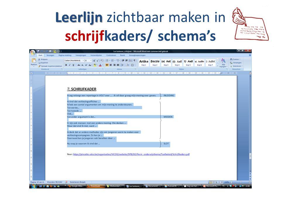 Leerlijn zichtbaar maken in schrijfkaders/ schema's