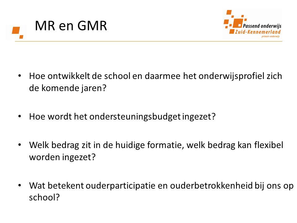 MR en GMR Hoe ontwikkelt de school en daarmee het onderwijsprofiel zich de komende jaren Hoe wordt het ondersteuningsbudget ingezet