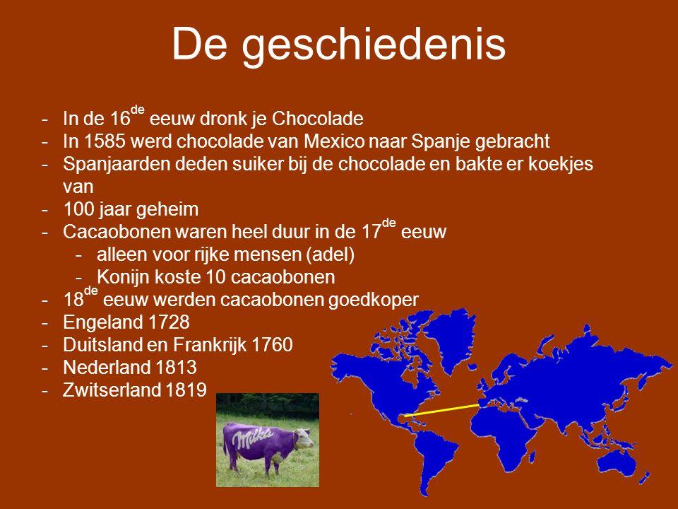 De geschiedenis In de 16de eeuw dronk je Chocolade