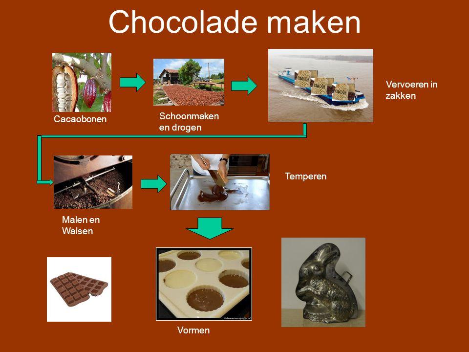 Chocolade maken Vervoeren in zakken Schoonmaken en drogen Cacaobonen