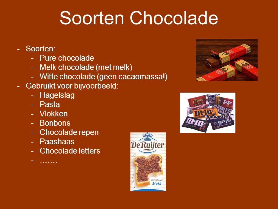 Soorten Chocolade Soorten: Pure chocolade Melk chocolade (met melk)