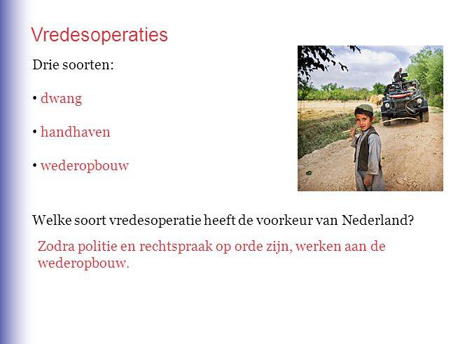 Vredesoperaties Drie soorten: dwang handhaven wederopbouw