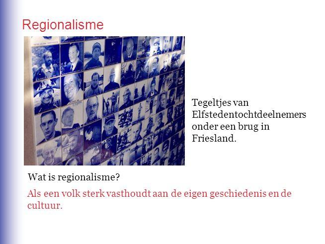 Regionalisme Tegeltjes van Elfstedentochtdeelnemers onder een brug in Friesland. Wat is regionalisme