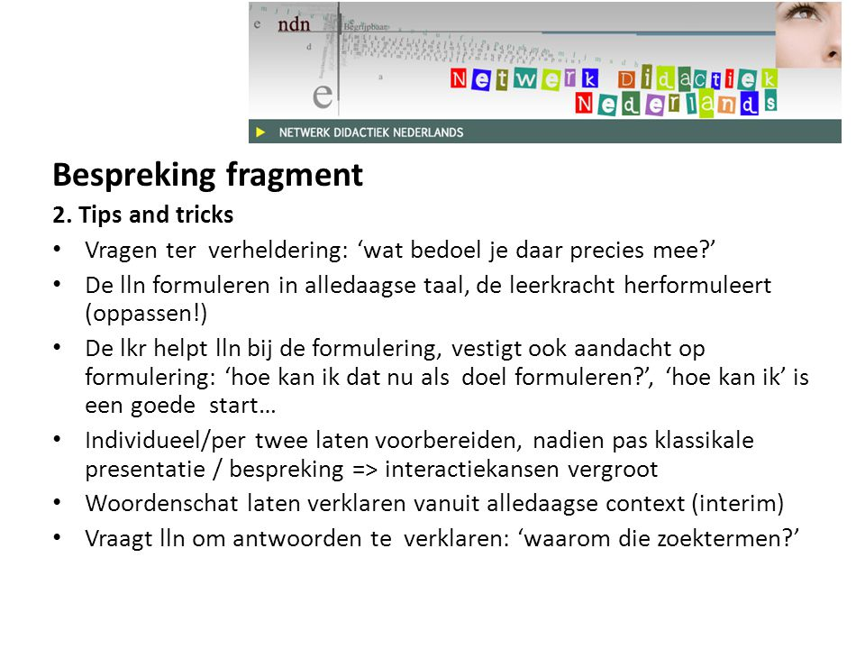 Bespreking fragment 2. Tips and tricks