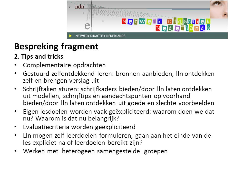 Bespreking fragment 2. Tips and tricks Complementaire opdrachten