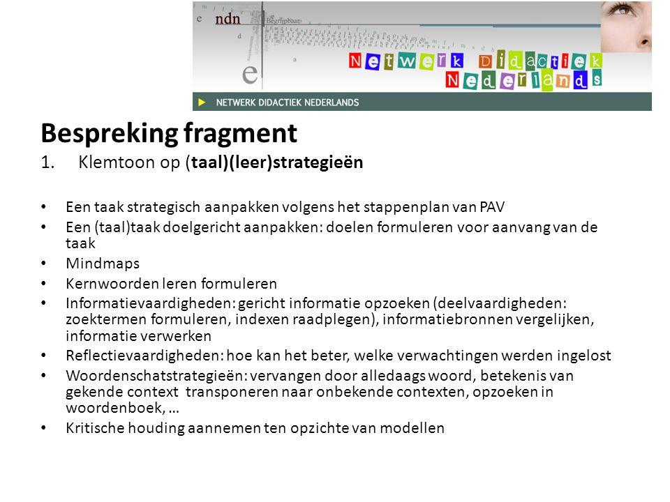 Bespreking fragment Klemtoon op (taal)(leer)strategieën