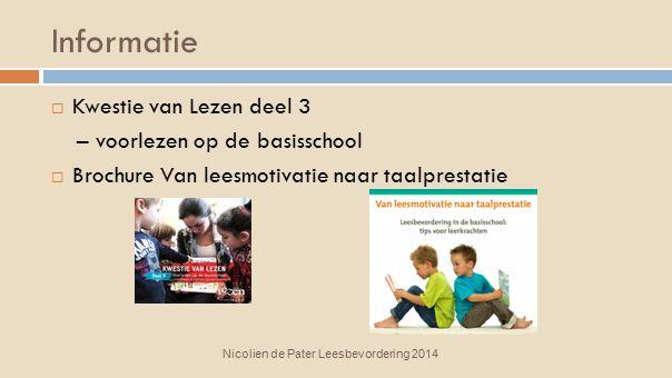 Informatie Kwestie van Lezen deel 3 – voorlezen op de basisschool