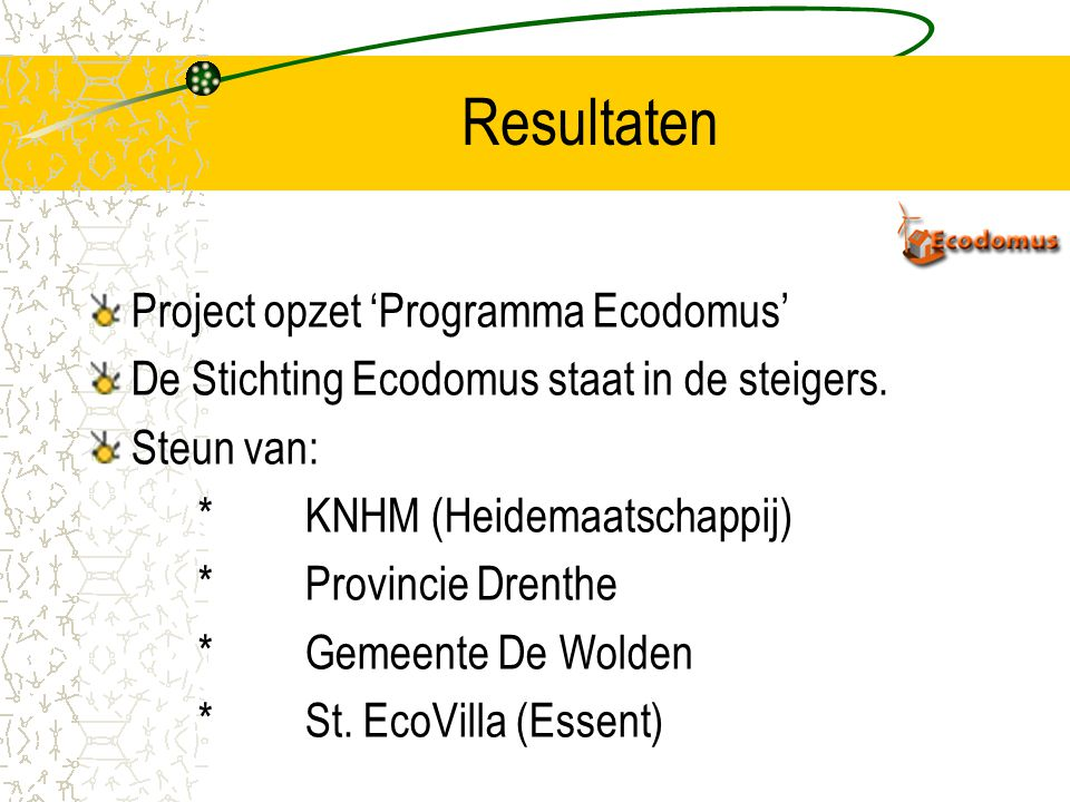 Resultaten Project opzet 'Programma Ecodomus'