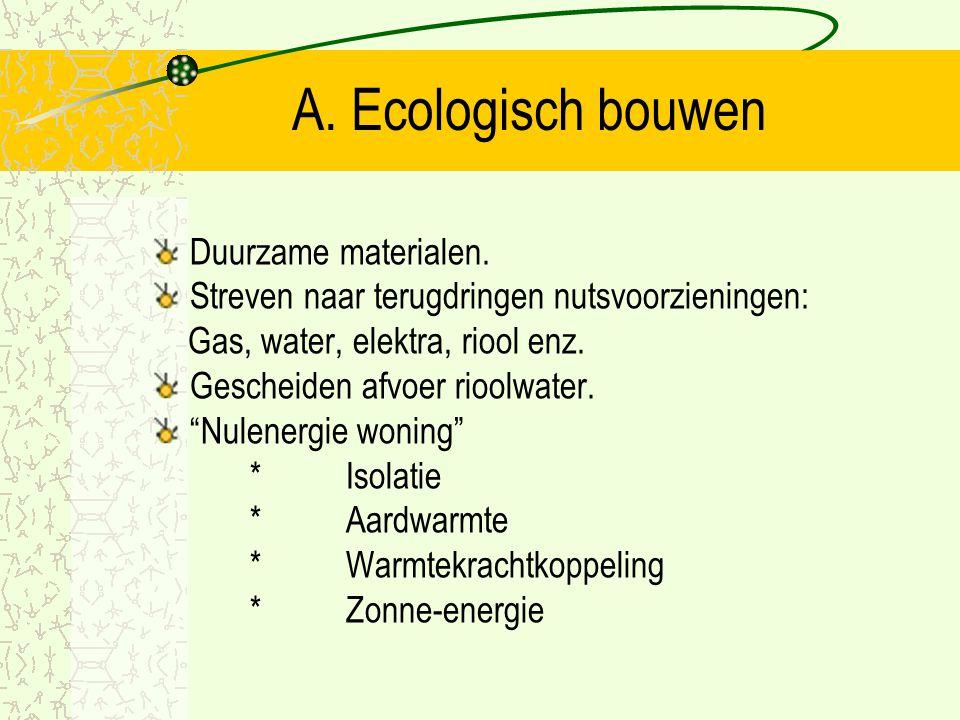 A. Ecologisch bouwen Duurzame materialen.