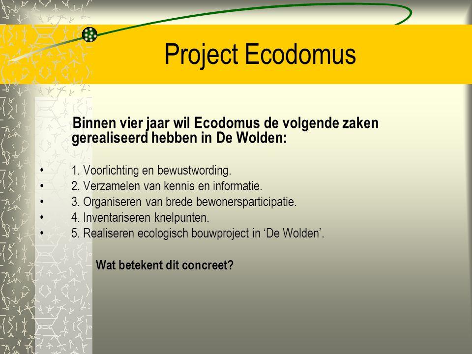 Project Ecodomus Binnen vier jaar wil Ecodomus de volgende zaken gerealiseerd hebben in De Wolden: 1. Voorlichting en bewustwording.