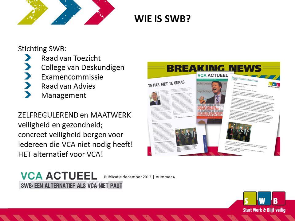 WIE IS SWB Stichting SWB: Raad van Toezicht College van Deskundigen