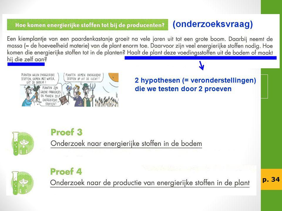 2 hypothesen (= veronderstellingen) die we testen door 2 proeven
