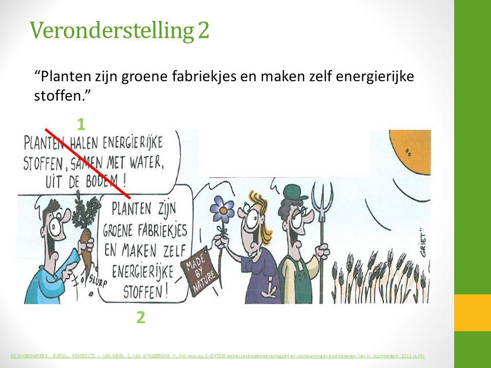 Veronderstelling 2 Planten zijn groene fabriekjes en maken zelf energierijke stoffen. 1. 2.