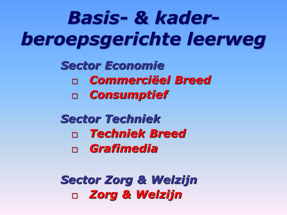 Basis- & kader-beroepsgerichte leerweg