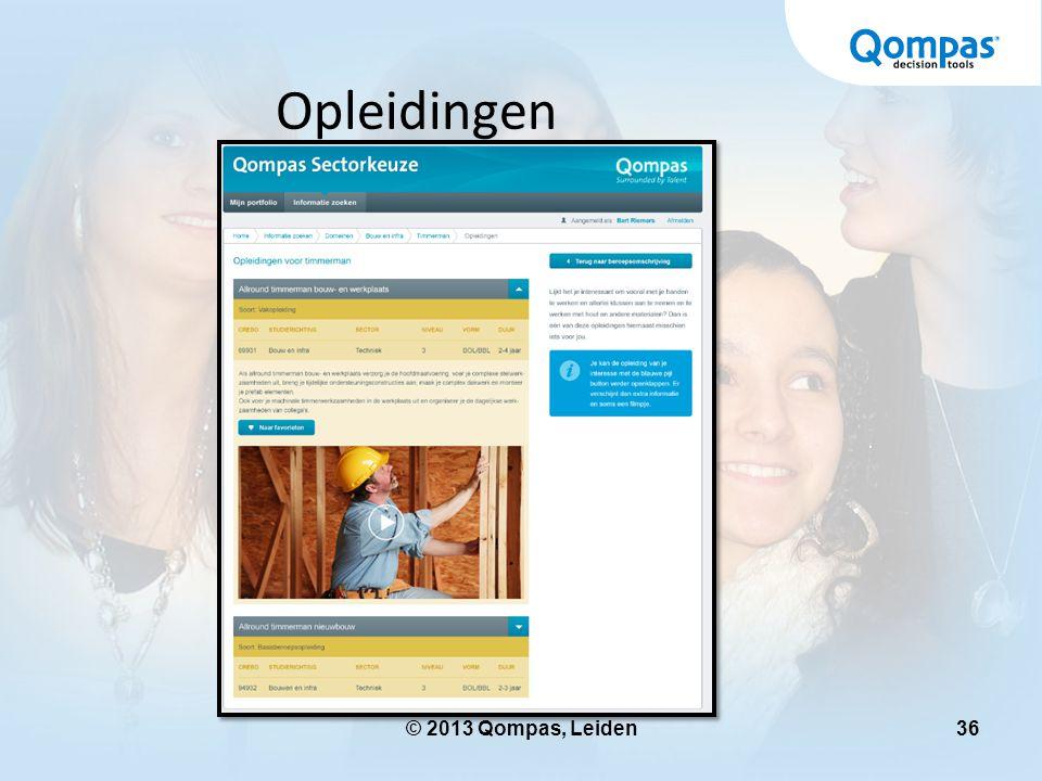 Opleidingen © 2013 Qompas, Leiden www.sectorkeuze.qompas.nl