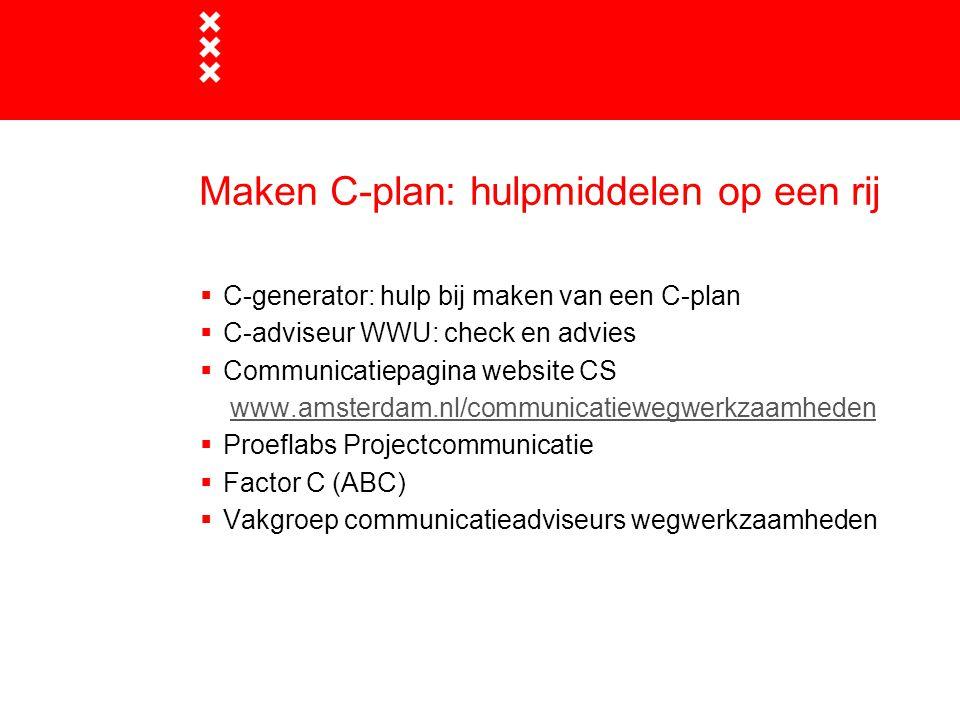 Maken C-plan: hulpmiddelen op een rij
