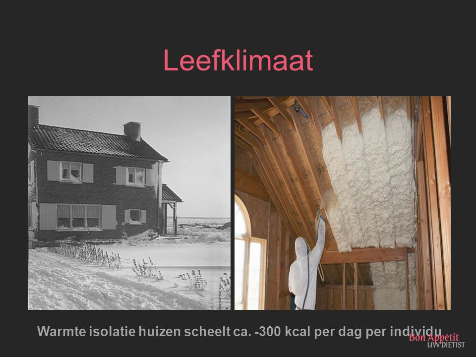 Warmte isolatie huizen scheelt ca. -300 kcal per dag per individu