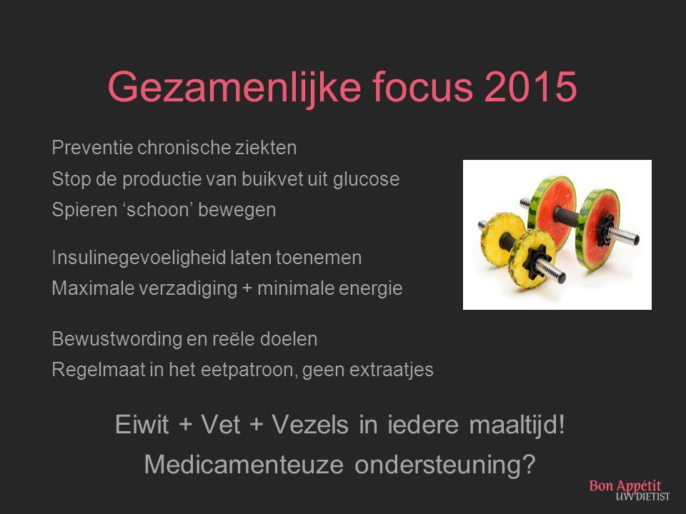 Gezamenlijke focus 2015 Eiwit + Vet + Vezels in iedere maaltijd!