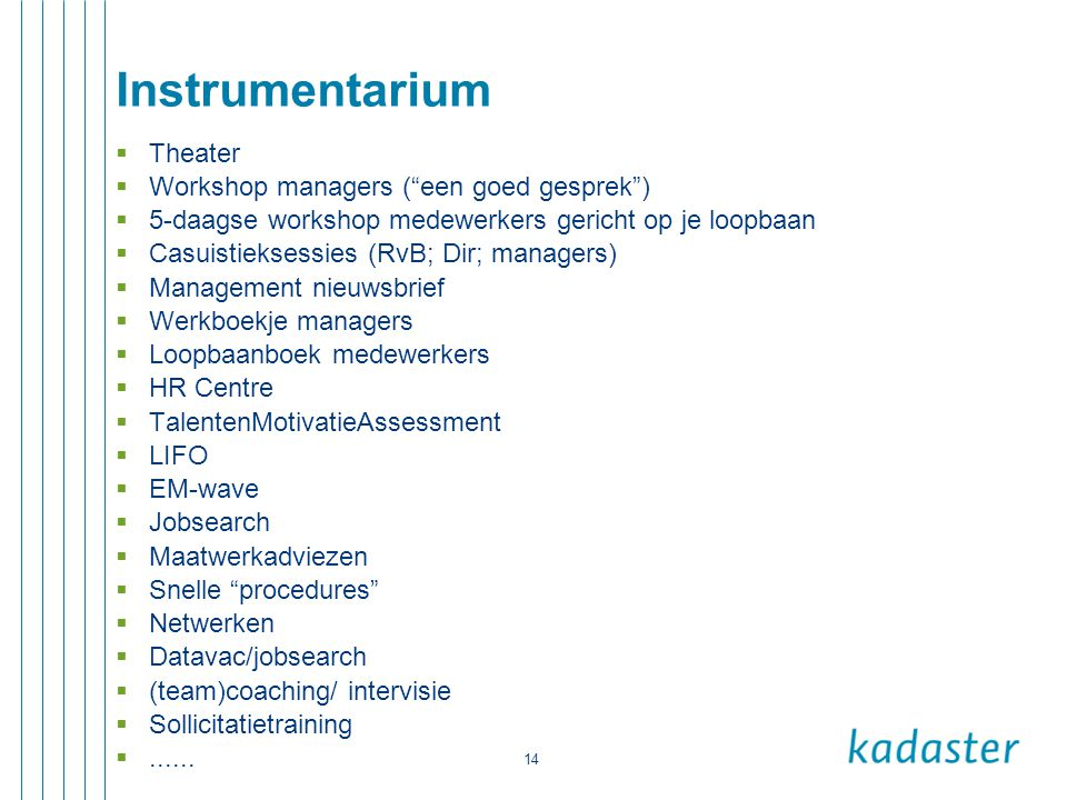 Instrumentarium Theater Workshop managers ( een goed gesprek )