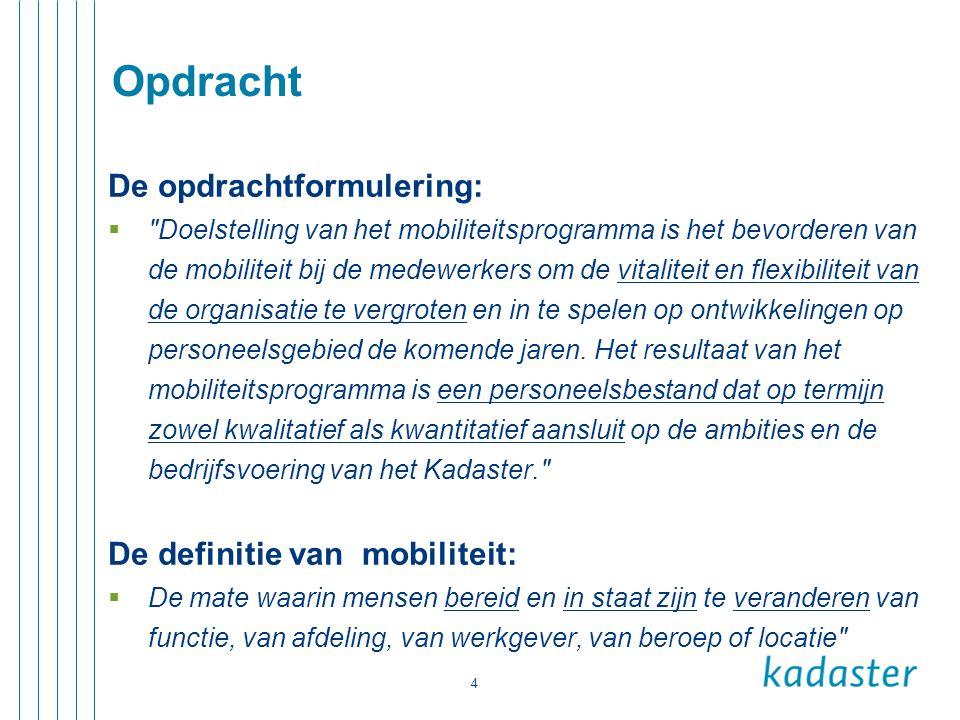 Opdracht De opdrachtformulering: De definitie van mobiliteit:
