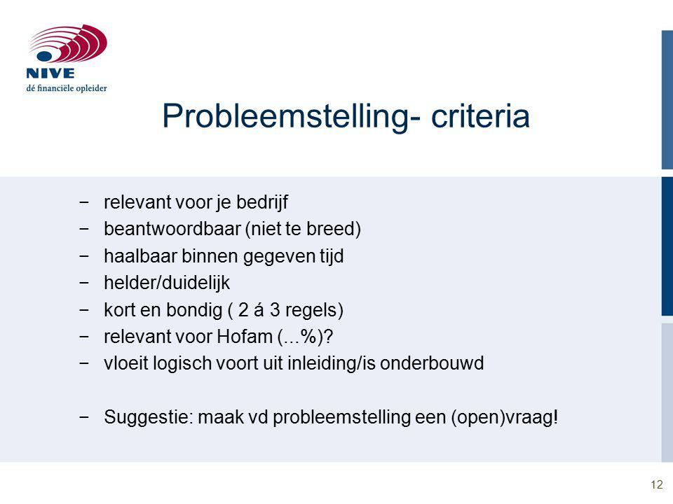 Probleemstelling- criteria