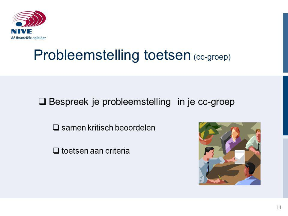 Probleemstelling toetsen (cc-groep)
