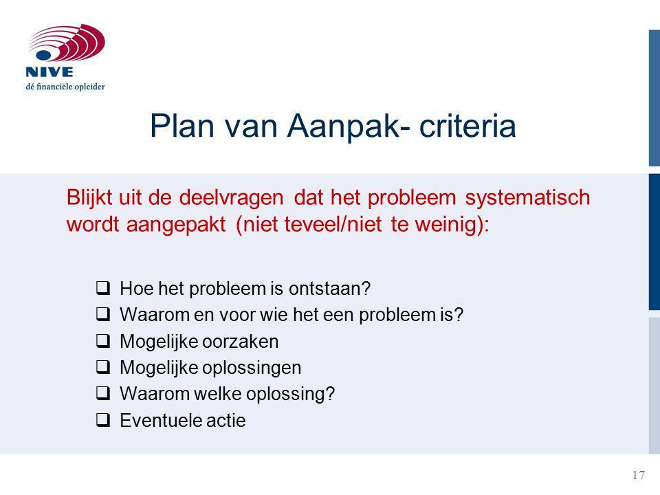 Plan van Aanpak- criteria