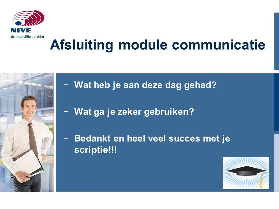 Afsluiting module communicatie
